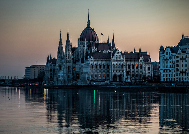 Budapest, the capital of Hungary, at sunrise with the Danube River bisecting the city.