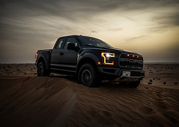Built Ford Tough photoshoot in Margham, Dubai Desert at sunset during a supermoon.